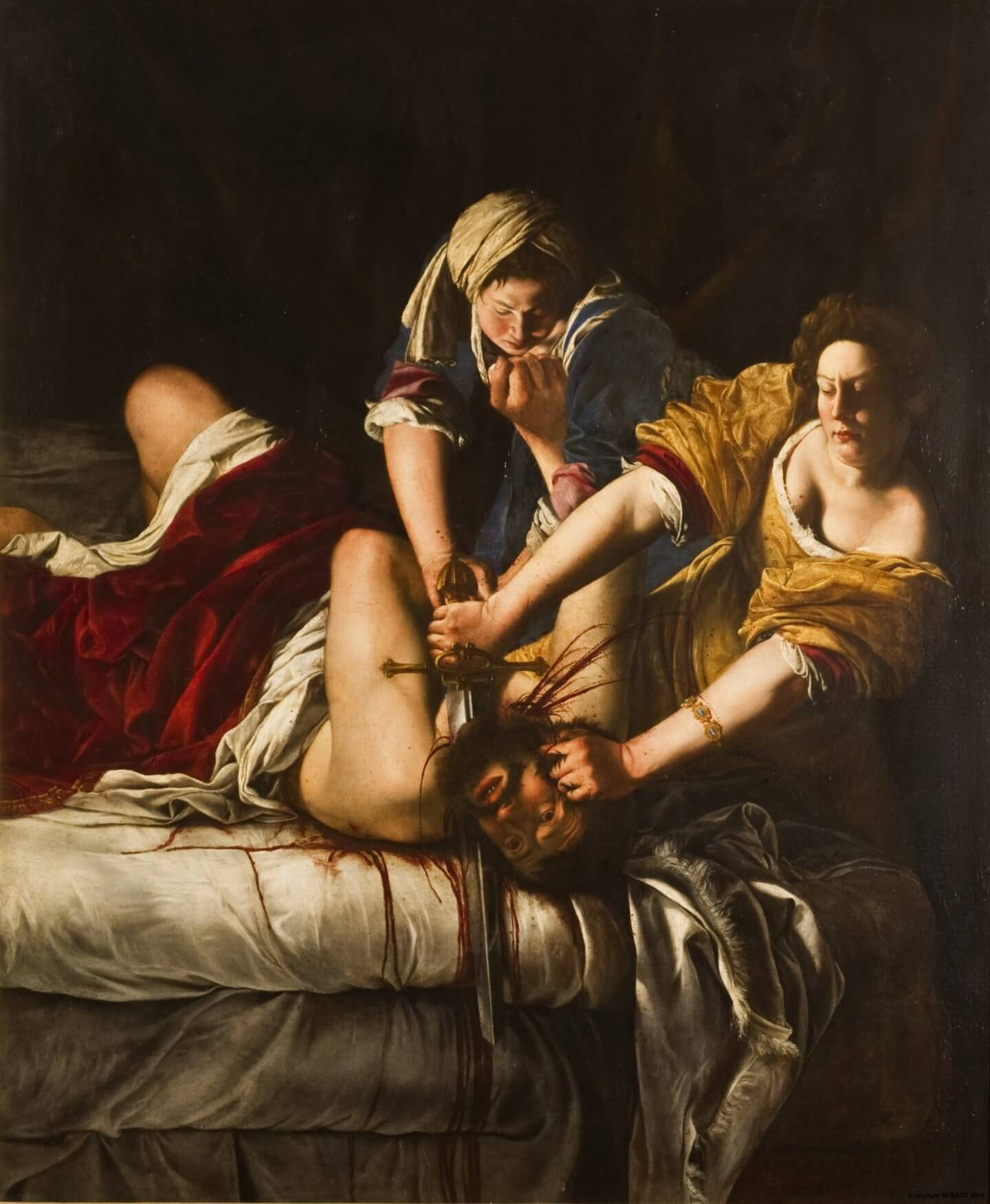 Артемизия Джентилески. Юдифь, обезглавливающая Олоферна. 1618. Холст, масло. Галерея Палатина, палаццо Питти, Флоренция