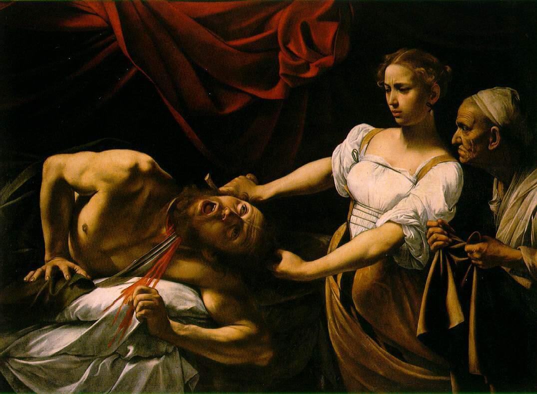 Караваджо. Юдифь, обезглавливающая Олоферна. Около 1598. Национальная галерея старинного искусства, Рим