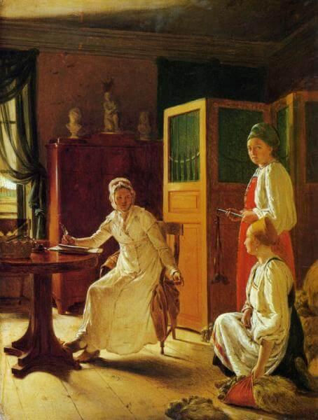 Утро помещицы, 1823. А.Г. Венецианов Коллекция Русского музея