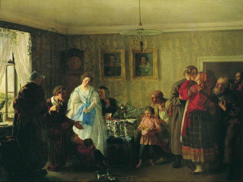 Поздравление молодых в доме помещика, Г.Г.Мясоедов, 1861 Коллекция Русского музея