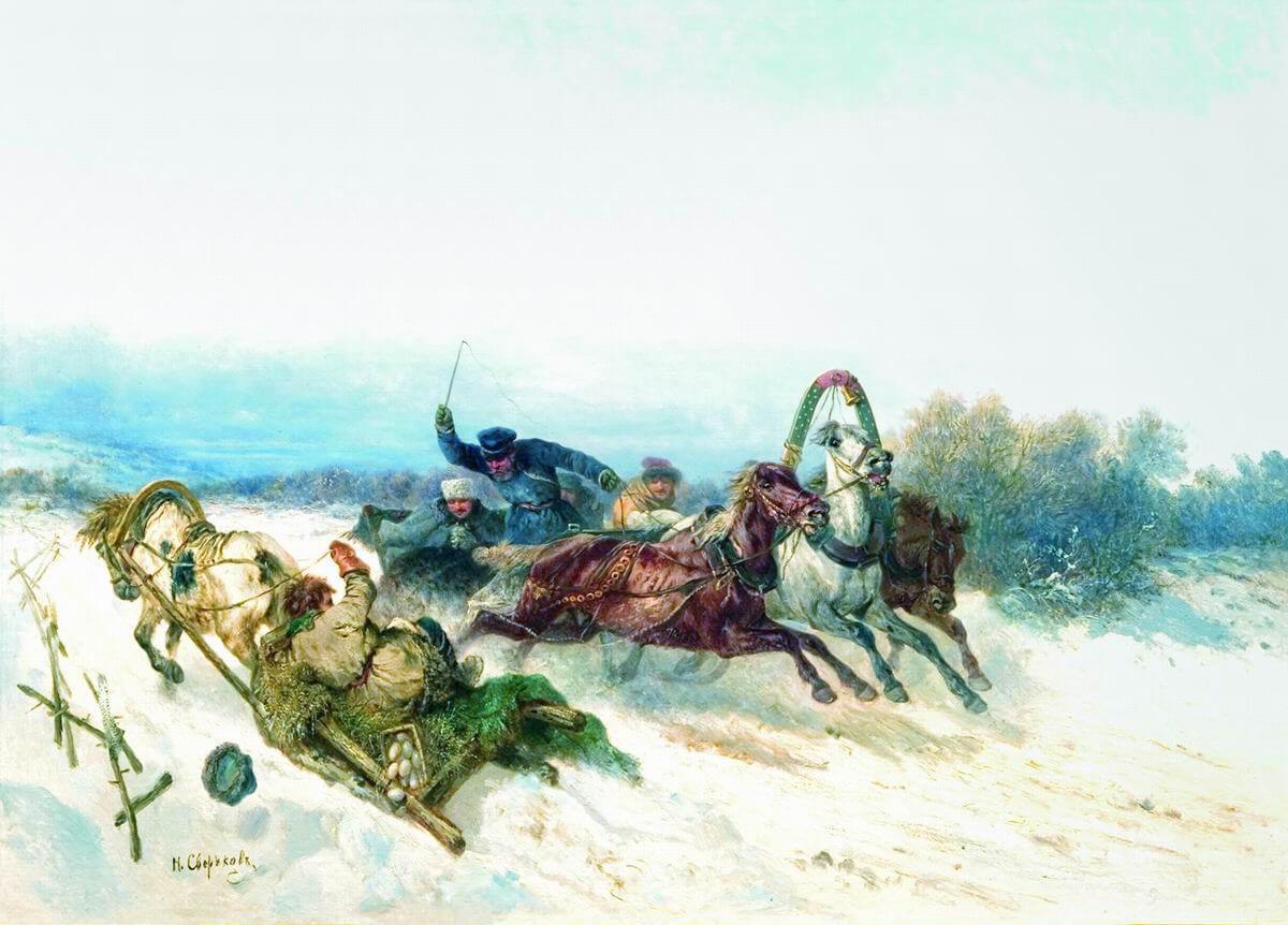 Случай на охоте, 1840. Н.Е. Сверчков. В частной коллекции.